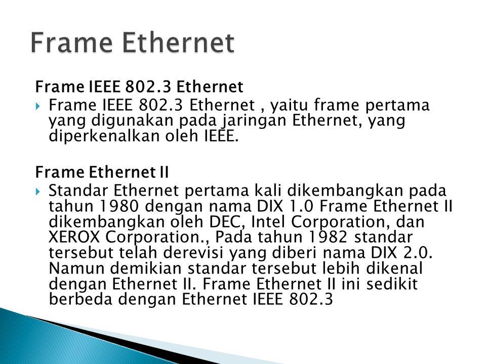 Frame IEEE 802.3 Ethernet  Frame IEEE 802.3 Ethernet, yaitu frame pertama yang digunakan pada jaringan Ethernet, yang diperkenalkan oleh IEEE.