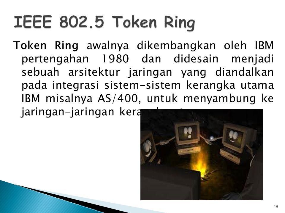 Token Ring awalnya dikembangkan oleh IBM pertengahan 1980 dan didesain menjadi sebuah arsitektur jaringan yang diandalkan pada integrasi sistem-sistem kerangka utama IBM misalnya AS/400, untuk menyambung ke jaringan-jaringan kerangka utama.