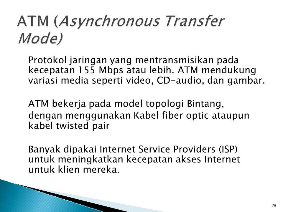 Protokol jaringan yang mentransmisikan pada kecepatan 155 Mbps atau lebih.