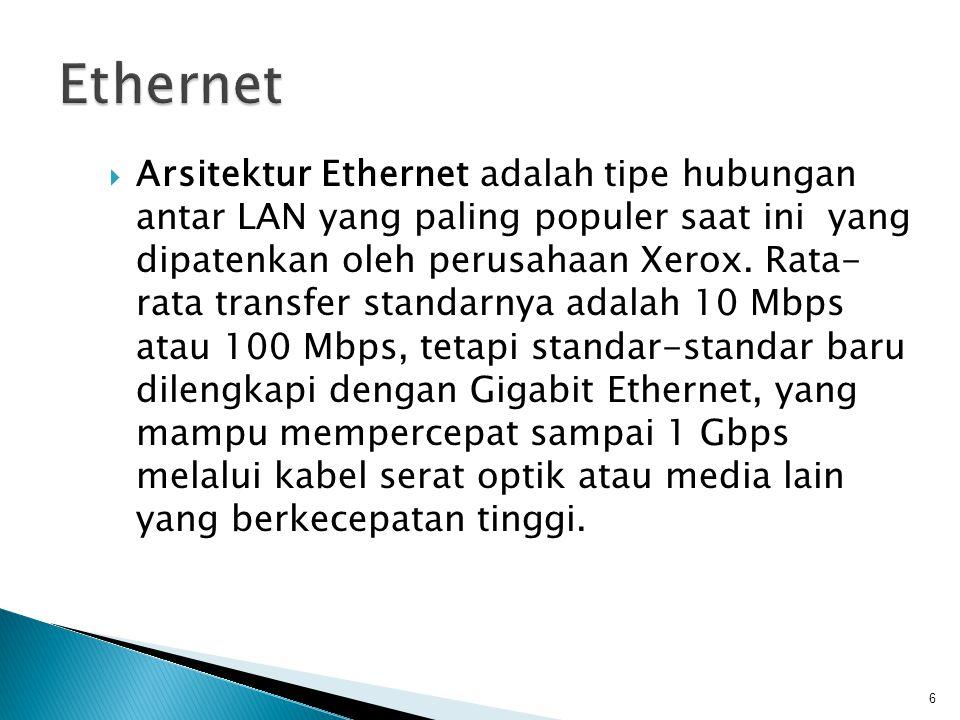  Arsitektur Ethernet adalah tipe hubungan antar LAN yang paling populer saat ini yang dipatenkan oleh perusahaan Xerox.