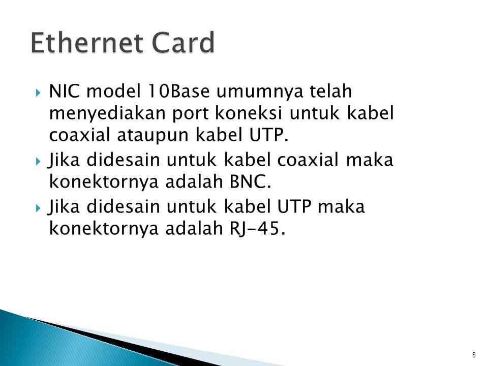 8  NIC model 10Base umumnya telah menyediakan port koneksi untuk kabel coaxial ataupun kabel UTP.