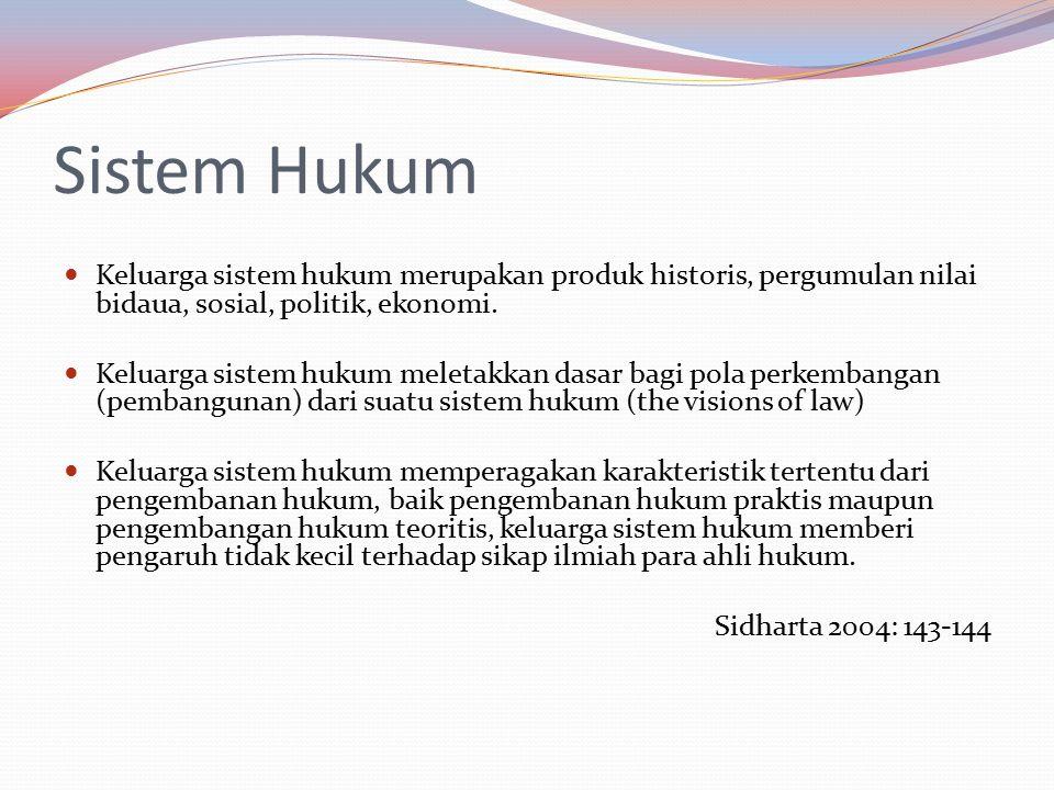 Sistem Hukum Keluarga sistem hukum merupakan produk historis, pergumulan nilai bidaua, sosial, politik, ekonomi. Keluarga sistem hukum meletakkan dasa