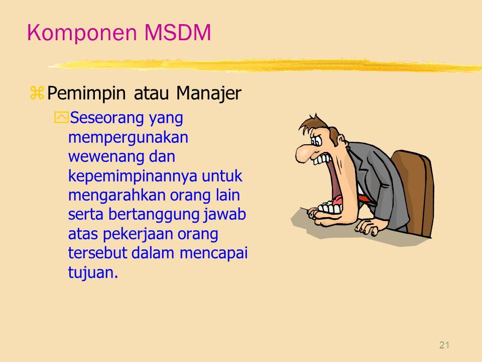 21 Komponen MSDM zPemimpin atau Manajer ySeseorang yang mempergunakan wewenang dan kepemimpinannya untuk mengarahkan orang lain serta bertanggung jawab atas pekerjaan orang tersebut dalam mencapai tujuan.