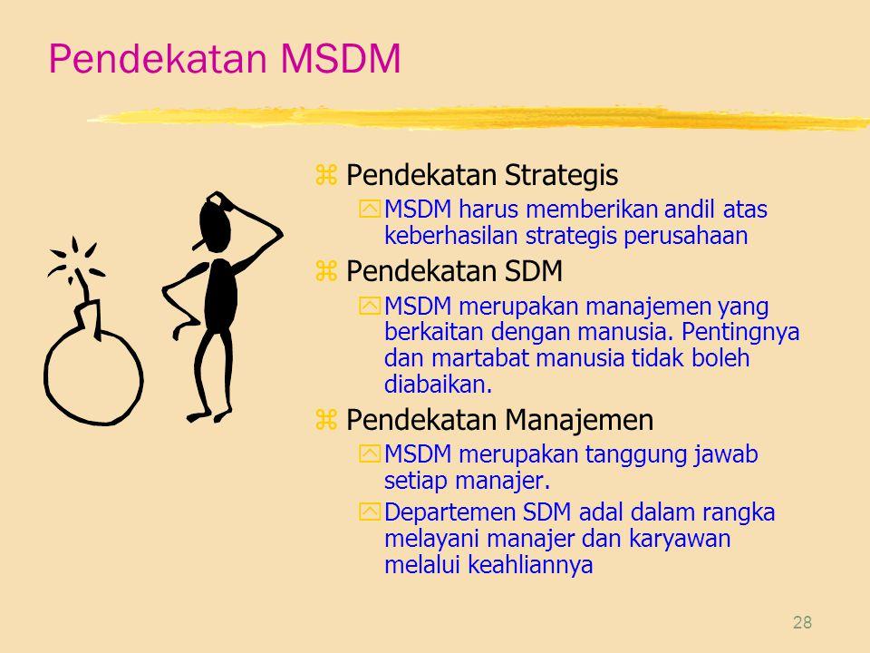 28 Pendekatan MSDM z Pendekatan Strategis yMSDM harus memberikan andil atas keberhasilan strategis perusahaan z Pendekatan SDM yMSDM merupakan manajemen yang berkaitan dengan manusia.