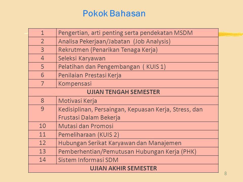 8 1 Pengertian, arti penting serta pendekatan MSDM 2 Analisa Pekerjaan/Jabatan (Job Analysis) 3 Rekrutmen (Penarikan Tenaga Kerja) 4 Seleksi Karyawan 5 Pelatihan dan Pengembangan ( KUIS 1) 6 Penilaian Prestasi Kerja 7 Kompensasi UJIAN TENGAH SEMESTER 8 Motivasi Kerja 9 Kedisiplinan, Persaingan, Kepuasan Kerja, Stress, dan Frustasi Dalam Bekerja 10 Mutasi dan Promosi 11 Pemeliharaan (KUIS 2) 12 Hubungan Serikat Karyawan dan Manajemen 13 Pemberhentian/Pemutusan Hubungan Kerja (PHK) 14 Sistem Informasi SDM UJIAN AKHIR SEMESTER Pokok Bahasan