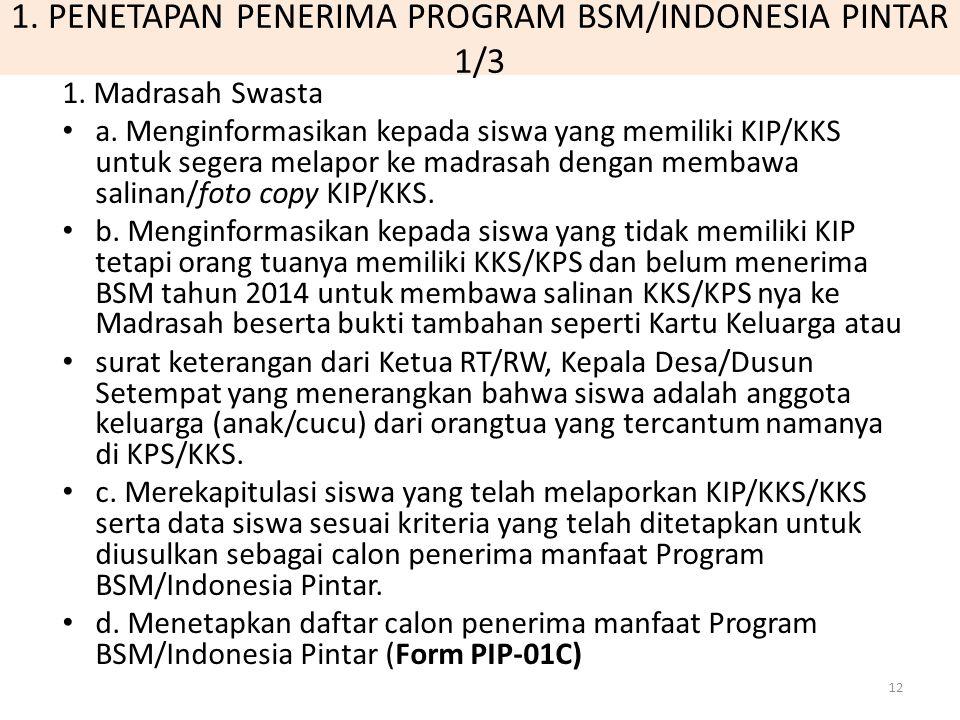 1. PENETAPAN PENERIMA PROGRAM BSM/INDONESIA PINTAR 1/3 1. Madrasah Swasta a. Menginformasikan kepada siswa yang memiliki KIP/KKS untuk segera melapor