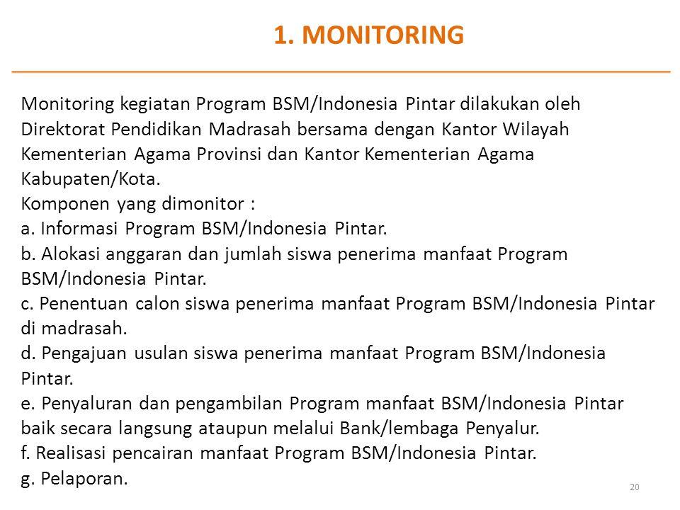 1. MONITORING Monitoring kegiatan Program BSM/Indonesia Pintar dilakukan oleh Direktorat Pendidikan Madrasah bersama dengan Kantor Wilayah Kementerian