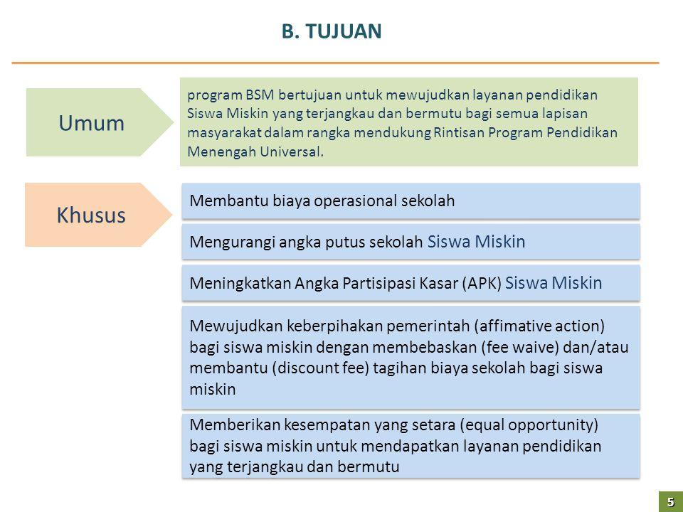 B. TUJUAN 5 Umum Khusus Membantu biaya operasional sekolah Mengurangi angka putus sekolah Siswa Miskin Meningkatkan Angka Partisipasi Kasar (APK) Sisw