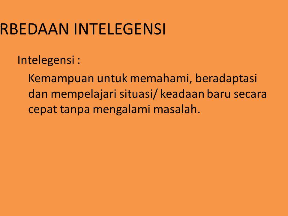 PERBEDAAN INTELEGENSI Intelegensi : Kemampuan untuk memahami, beradaptasi dan mempelajari situasi/ keadaan baru secara cepat tanpa mengalami masalah.