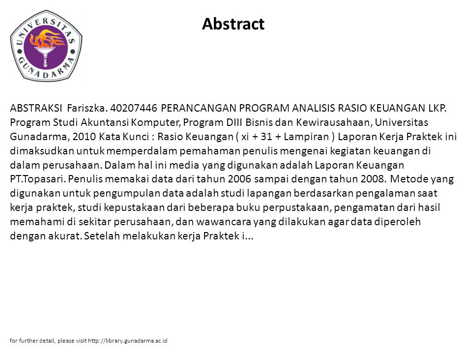 Abstract ABSTRAKSI Fariszka. 40207446 PERANCANGAN PROGRAM ANALISIS RASIO KEUANGAN LKP.