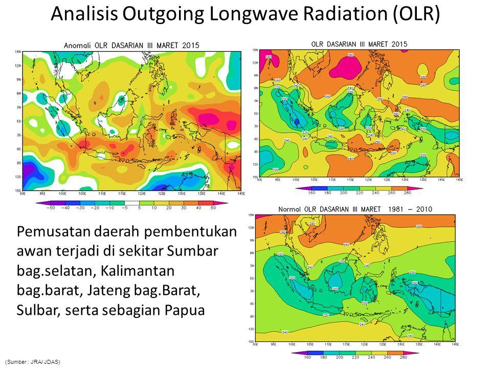 Analisis Outgoing Longwave Radiation (OLR) Pemusatan daerah pembentukan awan terjadi di sekitar Sumbar bag.selatan, Kalimantan bag.barat, Jateng bag.B