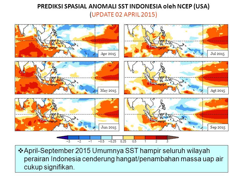 PREDIKSI SPASIAL ANOMALI SST INDONESIA oleh NCEP (USA) (UPDATE 02 APRIL 2015) May 2015 Jun 2015Sep 2015 Jul 2015 Agt 2015 Apr 2015  April-September 2