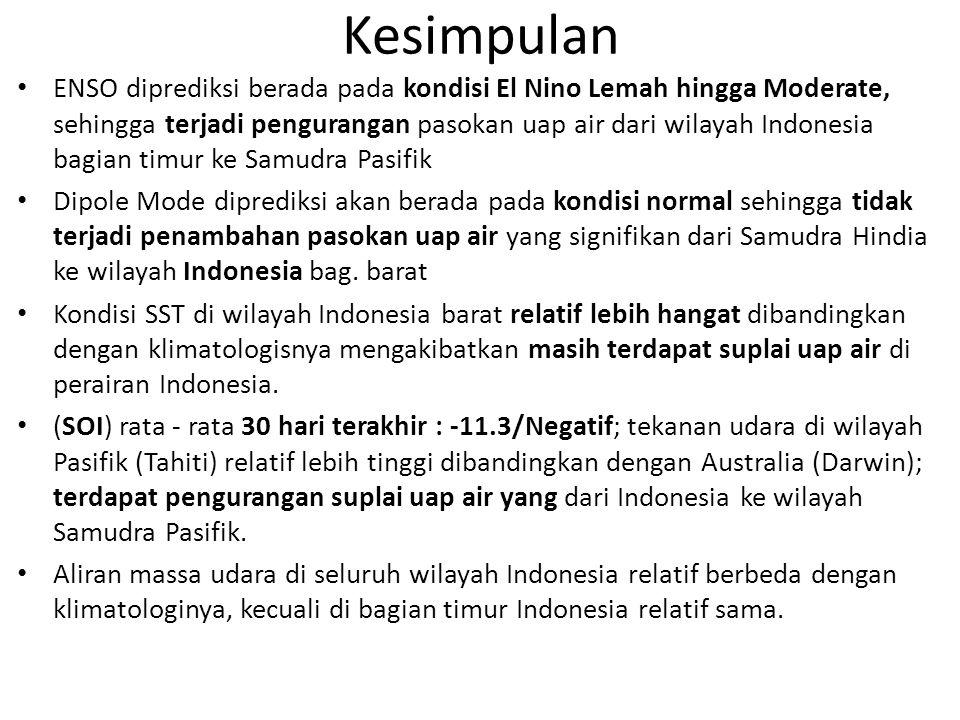 Kesimpulan ENSO diprediksi berada pada kondisi El Nino Lemah hingga Moderate, sehingga terjadi pengurangan pasokan uap air dari wilayah Indonesia bagi
