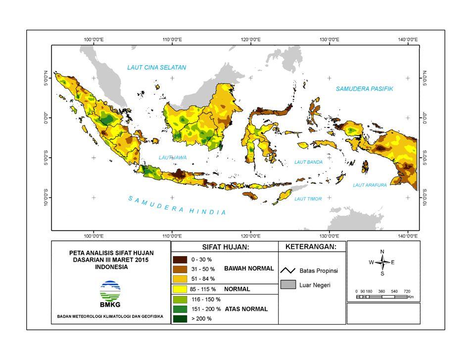 NORMAL DM (+) Kuat DM (-) Kuat Aliran massa uap air dari Indonesia ke Afrika Timur Aliran massa uap air dari Afrika Timur ke Indonesia BMKG PREDIKSI INDEKS DIPOLE MODE (UPDATE 02 APRIL 2015 PREDIKSI INDEKS DIPOLE MODE (UPDATE 02 APRIL 2015) Kesimpulan: Prediksi Indeks Dipole Mode April s/d September 2015: Normal/penambahan Curah Hujan kurang signifikan di Indonesia bagian barat.