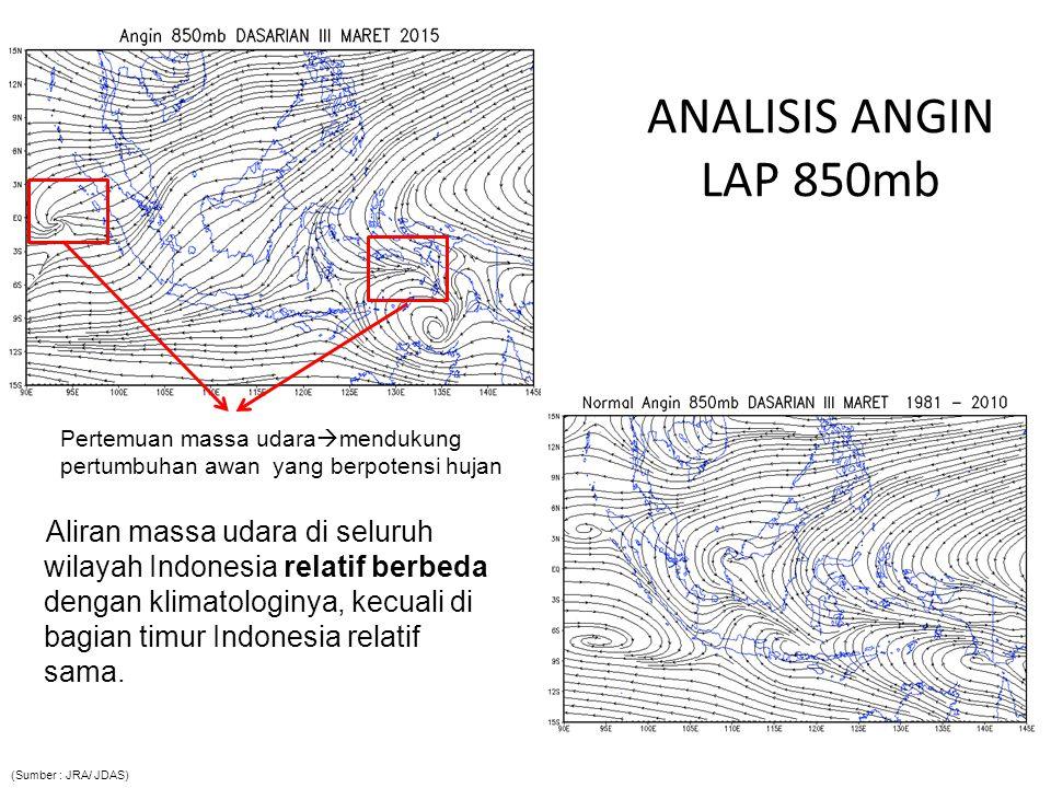 ANALISIS ANGIN LAP 850mb Aliran massa udara di seluruh wilayah Indonesia relatif berbeda dengan klimatologinya, kecuali di bagian timur Indonesia rela