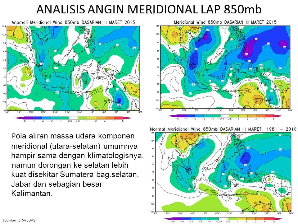 Analisis Outgoing Longwave Radiation (OLR) Pemusatan daerah pembentukan awan terjadi di sekitar Sumbar bag.selatan, Kalimantan bag.barat, Jateng bag.Barat, Sulbar, serta sebagian Papua (Sumber : JRA/ JDAS)
