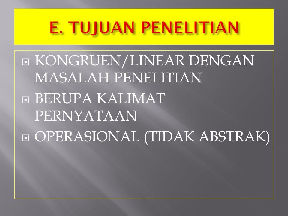  KONGRUEN/LINEAR DENGAN MASALAH PENELITIAN  BERUPA KALIMAT PERNYATAAN  OPERASIONAL (TIDAK ABSTRAK)