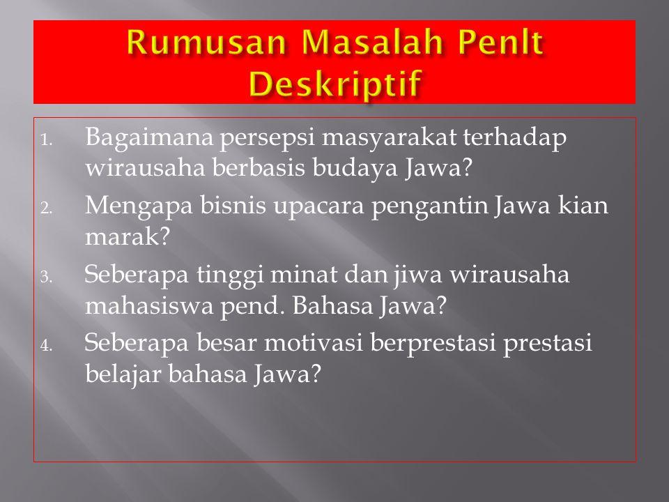 1. Bagaimana persepsi masyarakat terhadap wirausaha berbasis budaya Jawa? 2. Mengapa bisnis upacara pengantin Jawa kian marak? 3. Seberapa tinggi mina