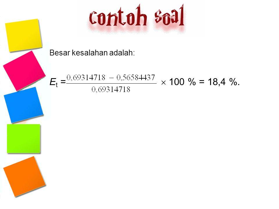 Besar kesalahan adalah: E t =  100 % = 18,4 %.