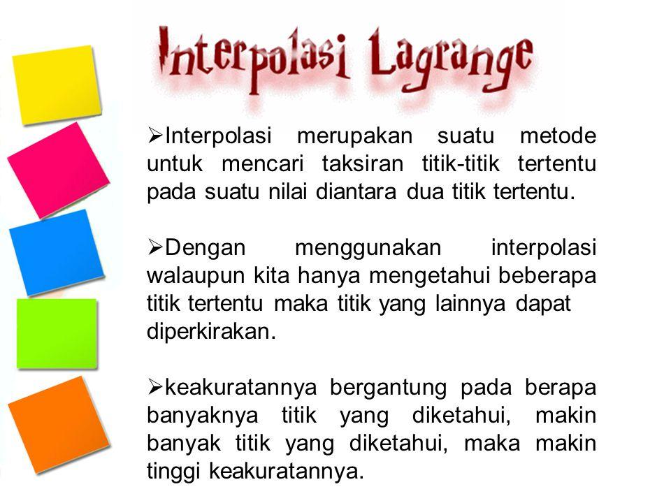  Interpolasi merupakan suatu metode untuk mencari taksiran titik-titik tertentu pada suatu nilai diantara dua titik tertentu.  Dengan menggunakan in