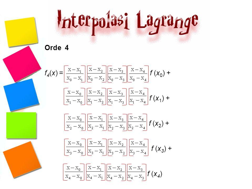 Carilah nilai dari ln 2 dengan metode interpolasi polinomial Lagrange Orde dua berdasar data sebagai berikut ln 1 = 0, ln 4 = 1,3862944 dan ln 6 = 1,7917595.