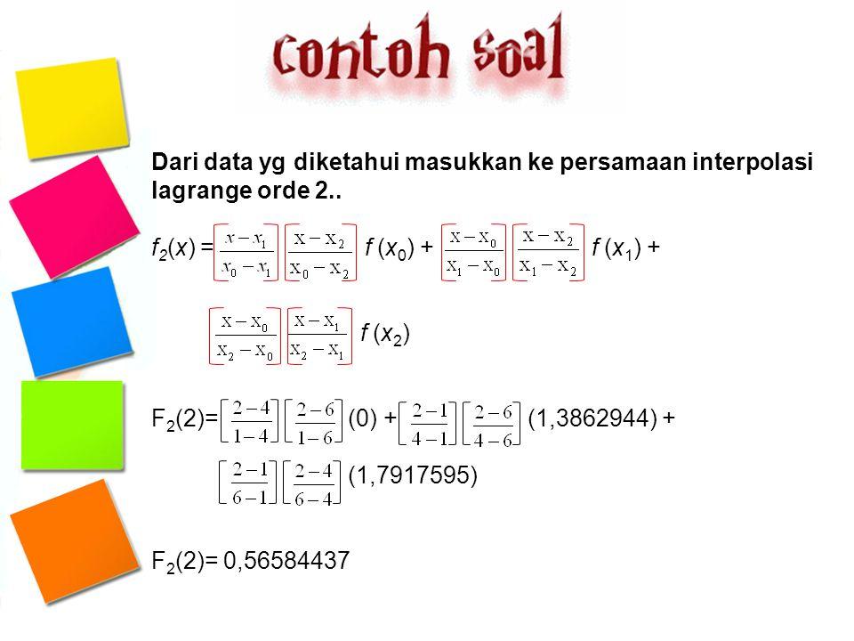 Dari data yg diketahui masukkan ke persamaan interpolasi lagrange orde 2.. f 2 (x) = f (x 0 ) + f (x 1 ) + f (x 2 ) F 2 (2)= (0) + (1,3862944) + (1,79