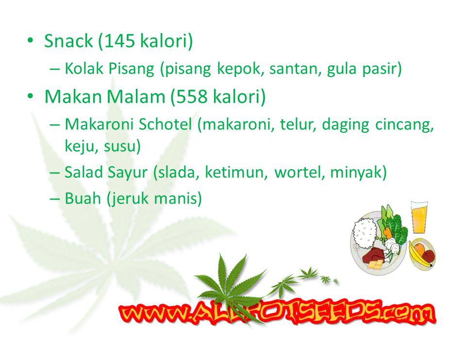 Makan Siang (694 kalori) – Nasi Putih – Daging Bumbu Bali (daging sapi, minyak) – Tahu Isi (tahu, telur) – Tumis Bayam (Bayam, minyak) – Sup Sayur (wo