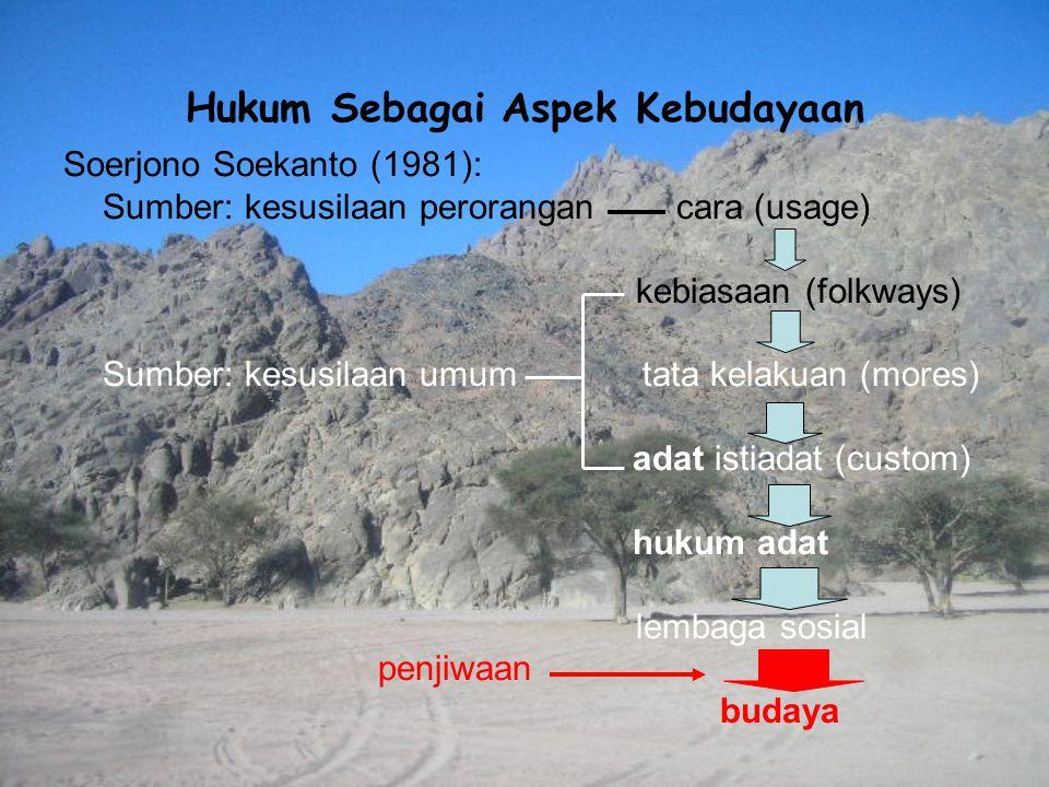 Hukum Sebagai Aspek Kebudayaan Soerjono Soekanto (1981): Sumber: kesusilaan perorangan cara (usage) kebiasaan (folkways) Sumber: kesusilaan umum tata