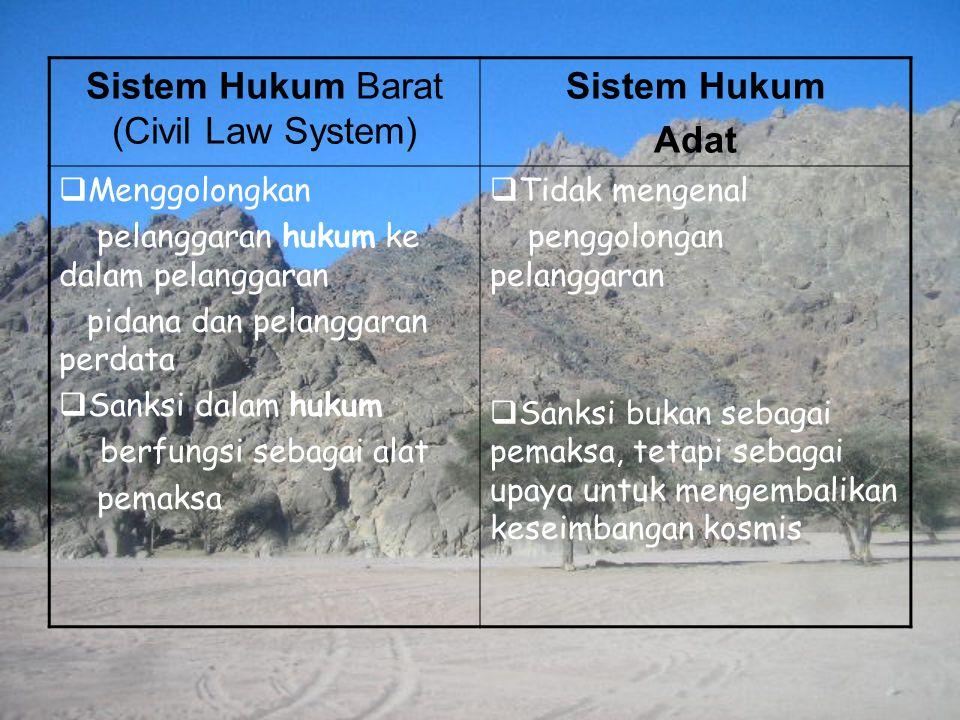 Sistem Hukum Adat  Menggolongkan pelanggaran hukum ke dalam pelanggaran pidana dan pelanggaran perdata  Sanksi dalam hukum berfungsi sebagai alat pe