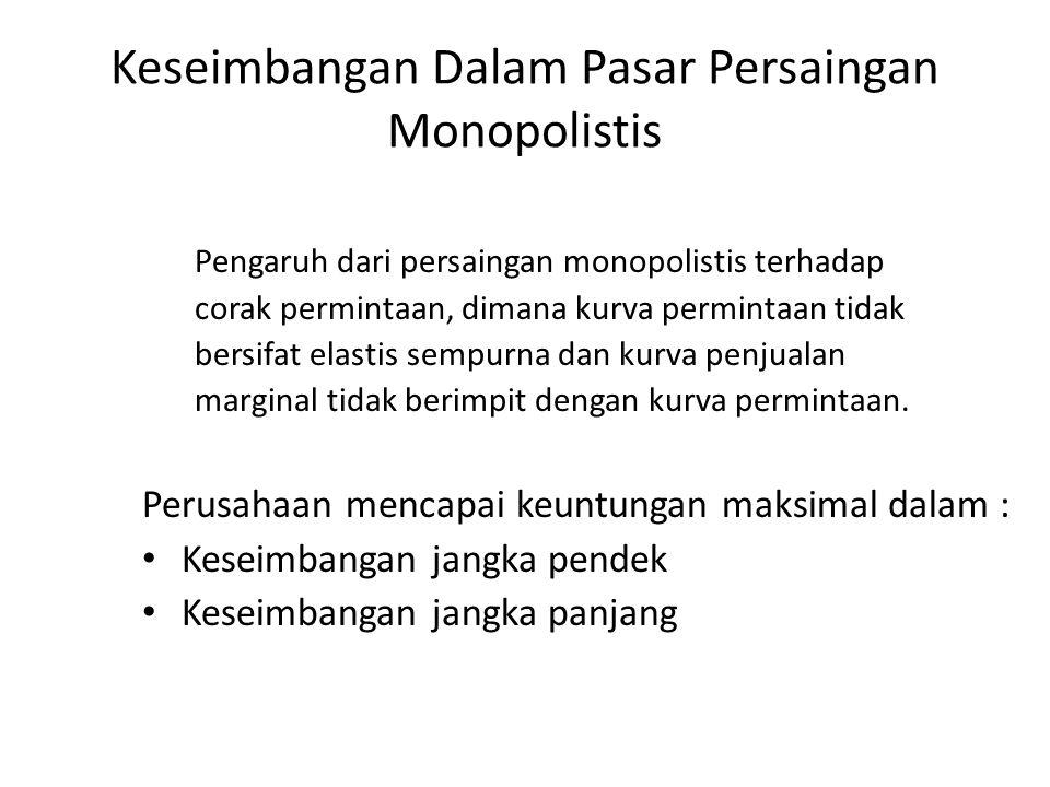 Keseimbangan Dalam Pasar Persaingan Monopolistis Pengaruh dari persaingan monopolistis terhadap corak permintaan, dimana kurva permintaan tidak bersifat elastis sempurna dan kurva penjualan marginal tidak berimpit dengan kurva permintaan.