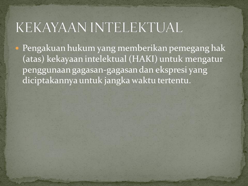 Pengakuan hukum yang memberikan pemegang hak (atas) kekayaan intelektual (HAKI) untuk mengatur penggunaan gagasan-gagasan dan ekspresi yang diciptakan