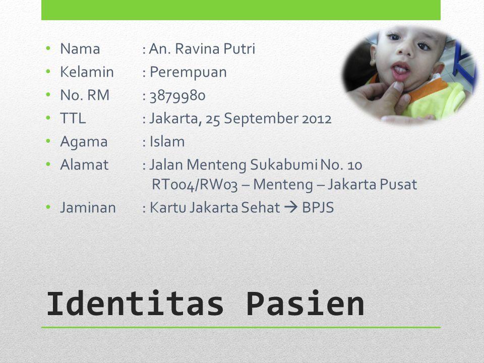 Identitas Pasien Nama: An. Ravina Putri Kelamin: Perempuan No. RM: 3879980 TTL: Jakarta, 25 September 2012 Agama: Islam Alamat: Jalan Menteng Sukabumi