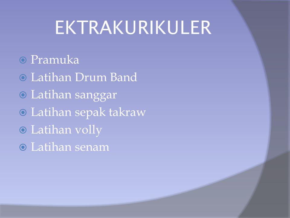 EKTRAKURIKULER  Pramuka  Latihan Drum Band  Latihan sanggar  Latihan sepak takraw  Latihan volly  Latihan senam