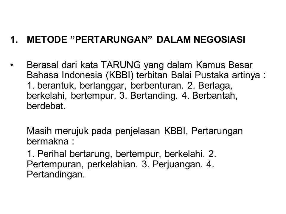 """1.METODE """"PERTARUNGAN"""" DALAM NEGOSIASI Berasal dari kata TARUNG yang dalam Kamus Besar Bahasa Indonesia (KBBI) terbitan Balai Pustaka artinya : 1. ber"""