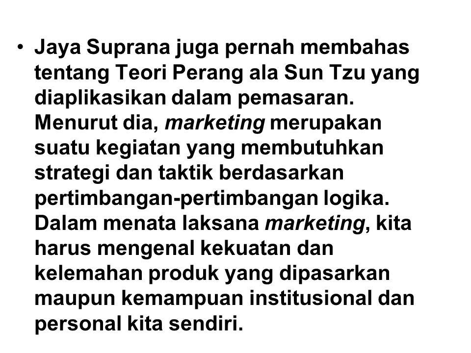 Jaya Suprana juga pernah membahas tentang Teori Perang ala Sun Tzu yang diaplikasikan dalam pemasaran. Menurut dia, marketing merupakan suatu kegiatan