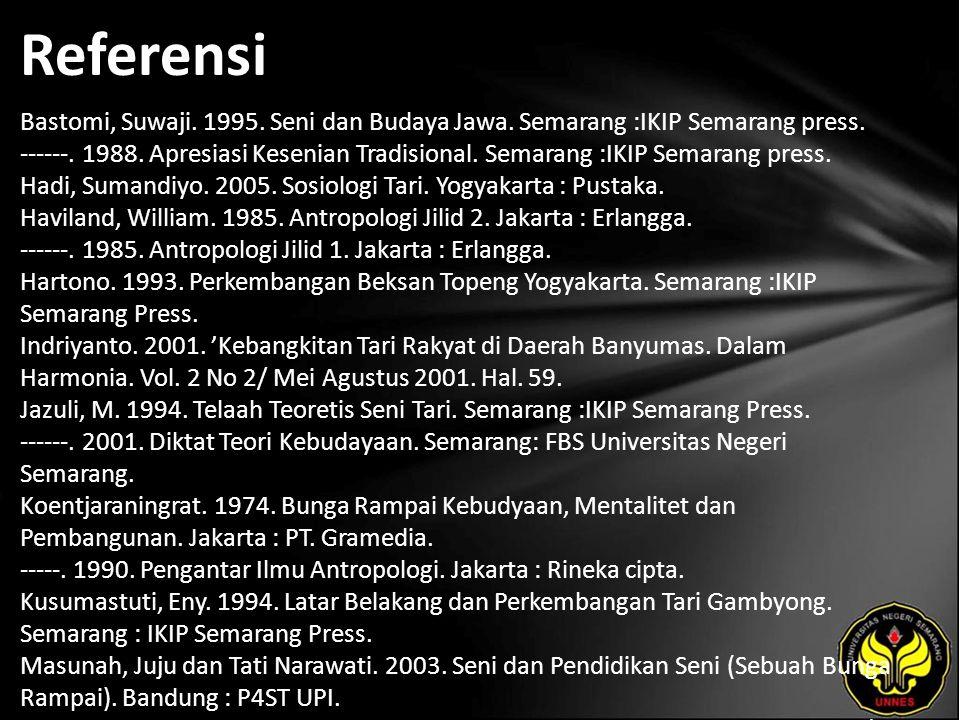 Referensi Bastomi, Suwaji. 1995. Seni dan Budaya Jawa. Semarang :IKIP Semarang press. ------. 1988. Apresiasi Kesenian Tradisional. Semarang :IKIP Sem