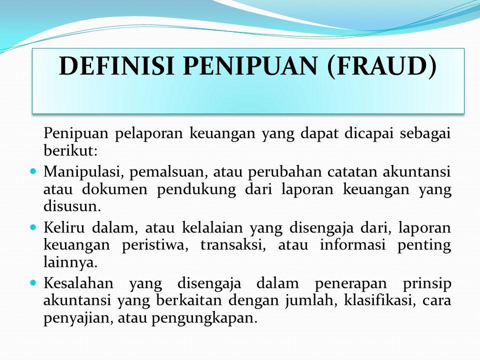 PENIPUAN DEFINISI (FRAUD) Penipuan pelaporan keuangan melibatkan salah saji disengaja atau kelalaian dari jumlah atau pengungkapan dalam laporan keuan