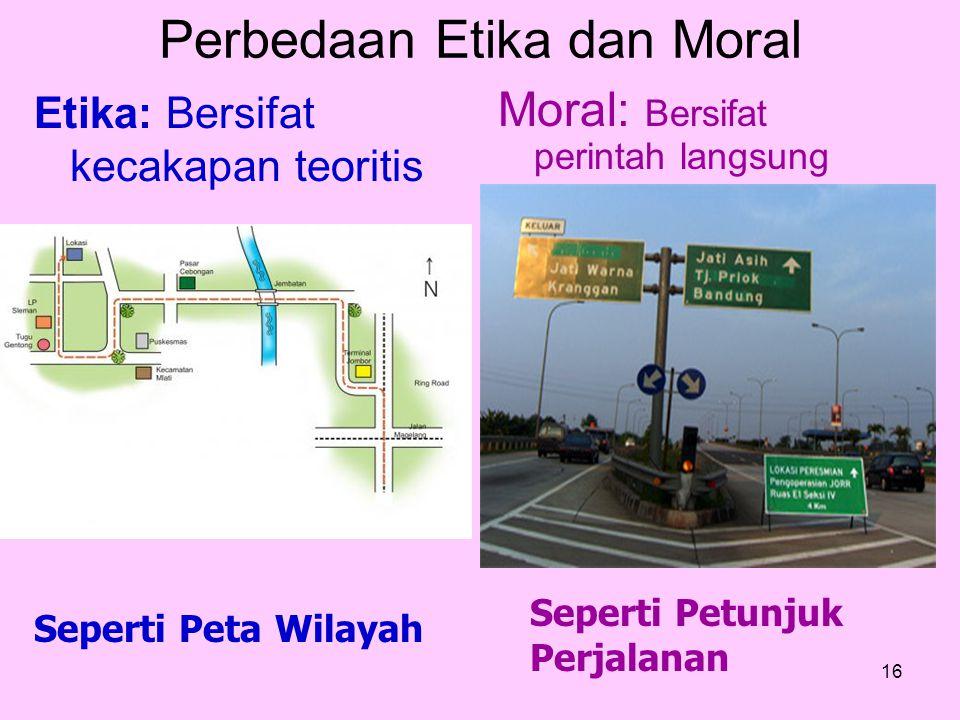 16 Moral: Bersifat perintah langsung Etika: Bersifat kecakapan teoritis Seperti Petunjuk Perjalanan Seperti Peta Wilayah Perbedaan Etika dan Moral