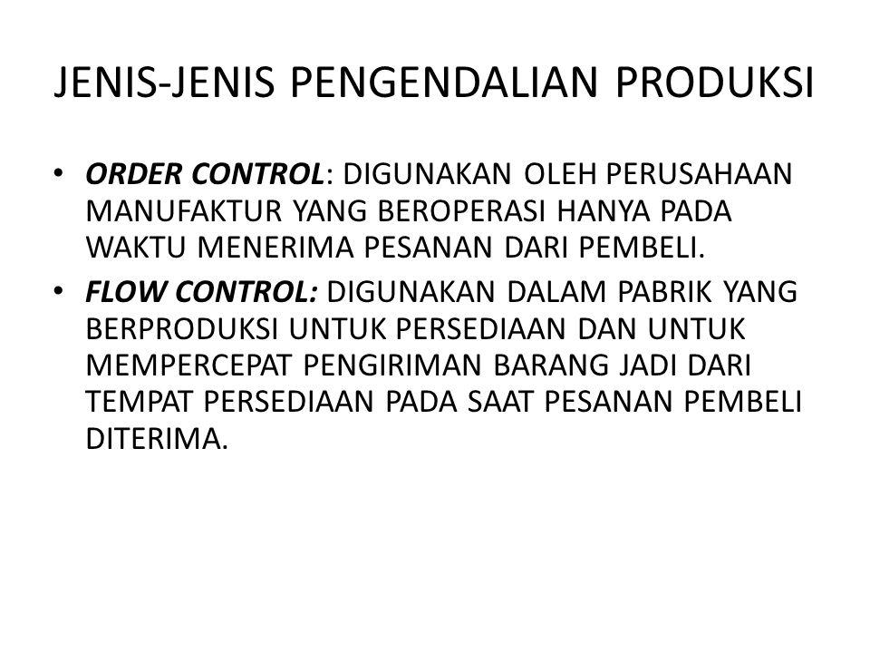 JENIS-JENIS PENGENDALIAN PRODUKSI ORDER CONTROL: DIGUNAKAN OLEH PERUSAHAAN MANUFAKTUR YANG BEROPERASI HANYA PADA WAKTU MENERIMA PESANAN DARI PEMBELI.