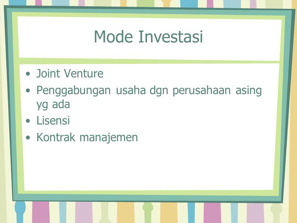 Mode Investasi Joint Venture Penggabungan usaha dgn perusahaan asing yg ada Lisensi Kontrak manajemen