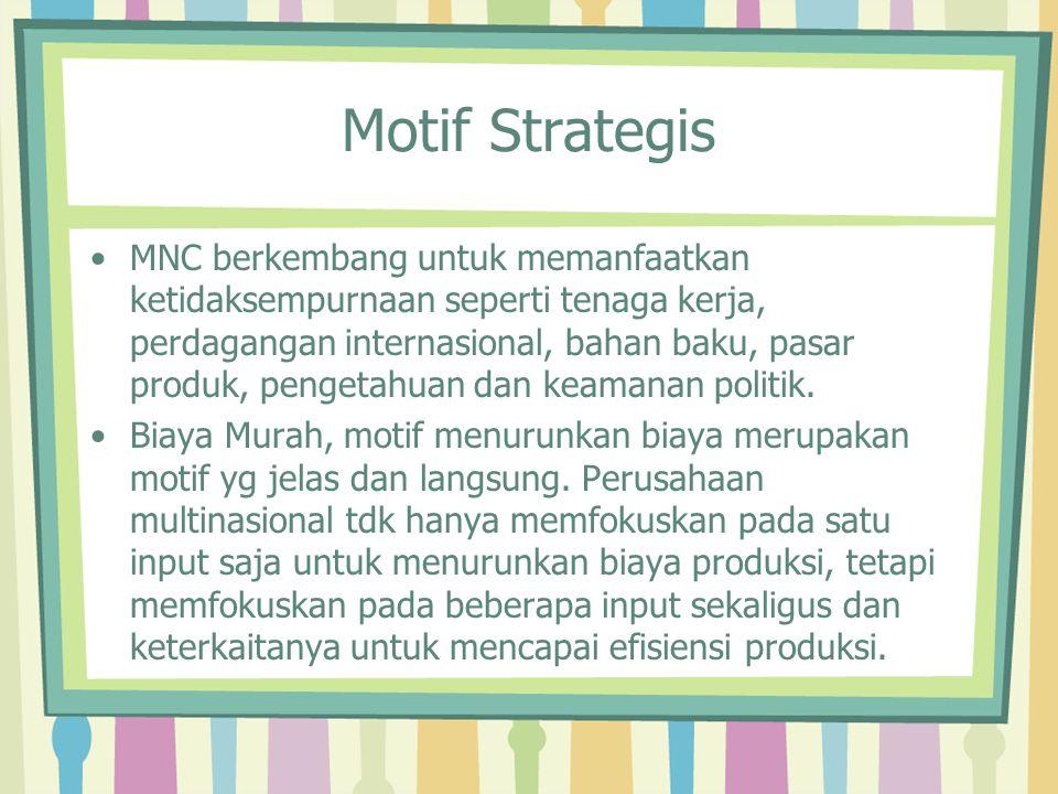 Motif Strategis MNC berkembang untuk memanfaatkan ketidaksempurnaan seperti tenaga kerja, perdagangan internasional, bahan baku, pasar produk, pengeta