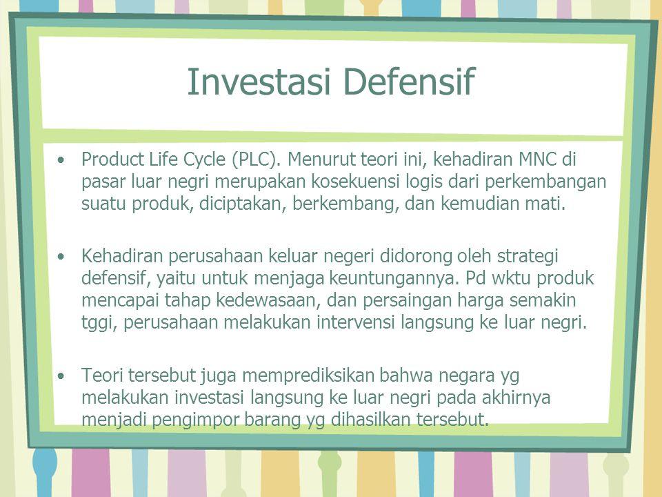 Investasi Defensif Product Life Cycle (PLC). Menurut teori ini, kehadiran MNC di pasar luar negri merupakan kosekuensi logis dari perkembangan suatu p
