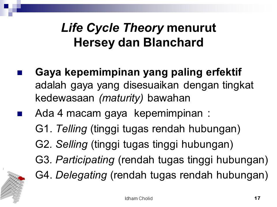 Life Cycle Theory menurut Hersey dan Blanchard Gaya kepemimpinan yang paling erfektif adalah gaya yang disesuaikan dengan tingkat kedewasaan (maturity