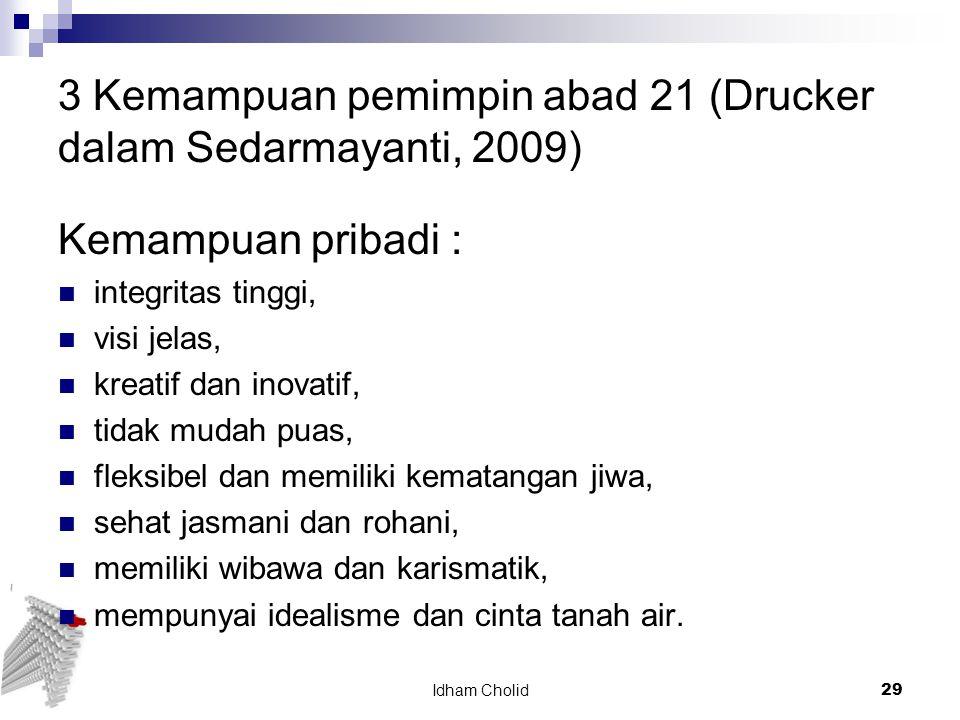 3 Kemampuan pemimpin abad 21 (Drucker dalam Sedarmayanti, 2009) Kemampuan pribadi : integritas tinggi, visi jelas, kreatif dan inovatif, tidak mudah p