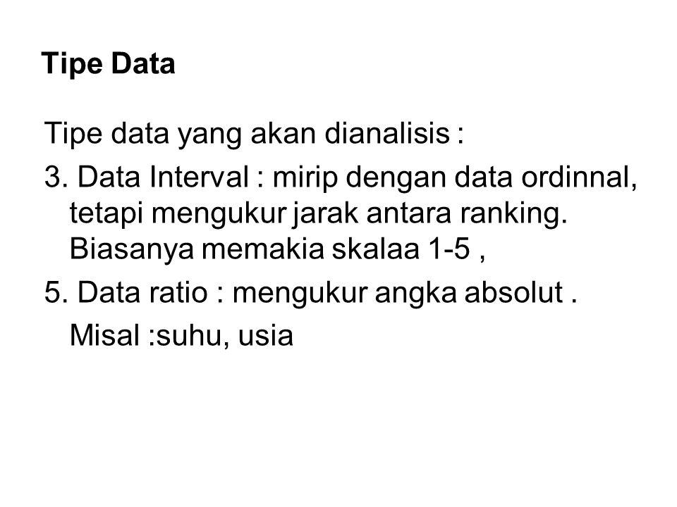 Tipe Data Tipe data yang akan dianalisis : 3. Data Interval : mirip dengan data ordinnal, tetapi mengukur jarak antara ranking. Biasanya memakia skala
