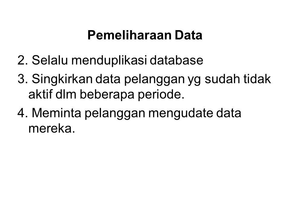 Pemeliharaan Data 2. Selalu menduplikasi database 3. Singkirkan data pelanggan yg sudah tidak aktif dlm beberapa periode. 4. Meminta pelanggan menguda