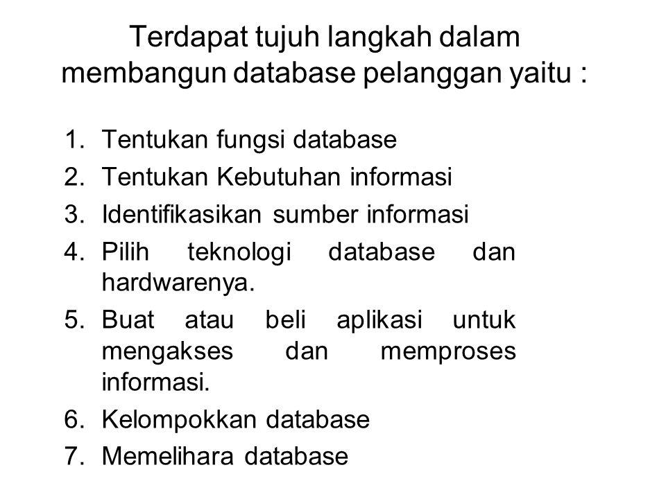Terdapat tujuh langkah dalam membangun database pelanggan yaitu : 1.Tentukan fungsi database 2.Tentukan Kebutuhan informasi 3.Identifikasikan sumber i