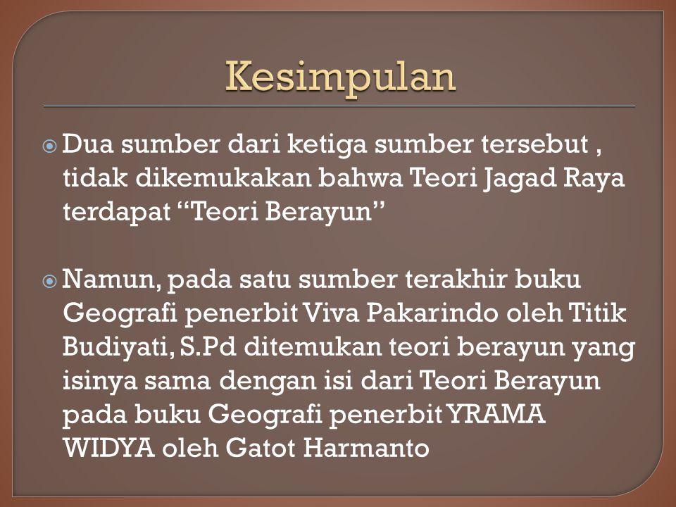  Dua sumber dari ketiga sumber tersebut, tidak dikemukakan bahwa Teori Jagad Raya terdapat Teori Berayun  Namun, pada satu sumber terakhir buku Geografi penerbit Viva Pakarindo oleh Titik Budiyati, S.Pd ditemukan teori berayun yang isinya sama dengan isi dari Teori Berayun pada buku Geografi penerbit YRAMA WIDYA oleh Gatot Harmanto