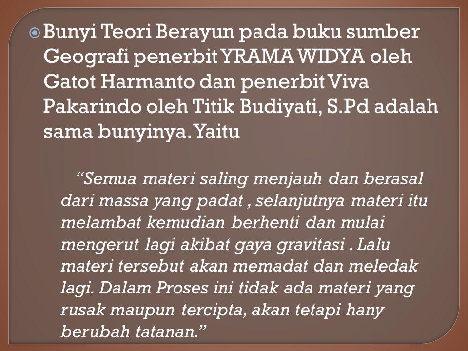  Bunyi Teori Berayun pada buku sumber Geografi penerbit YRAMA WIDYA oleh Gatot Harmanto dan penerbit Viva Pakarindo oleh Titik Budiyati, S.Pd adalah sama bunyinya.