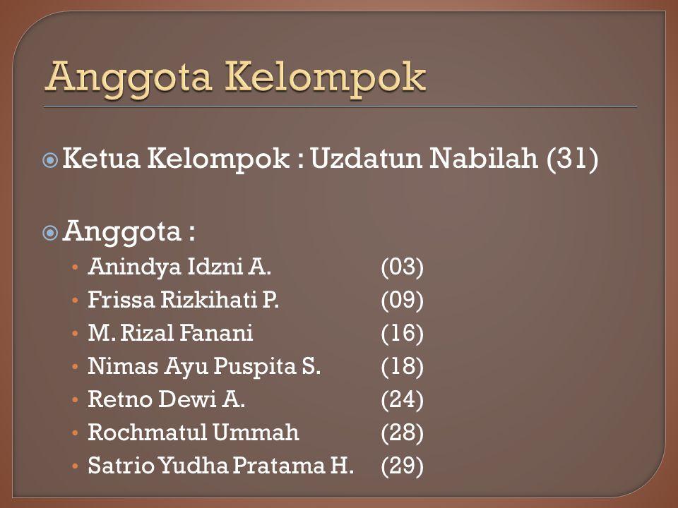  Ketua Kelompok : Uzdatun Nabilah (31)  Anggota : Anindya Idzni A.(03) Frissa Rizkihati P.(09) M. Rizal Fanani(16) Nimas Ayu Puspita S.(18) Retno De